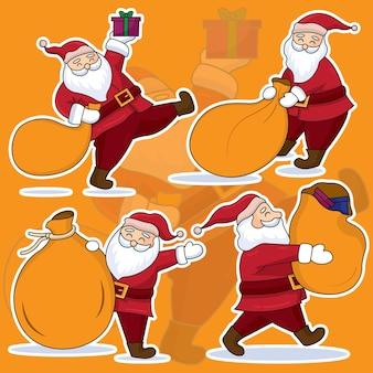 Weihnachtsmann mit geschenksack, flaches design