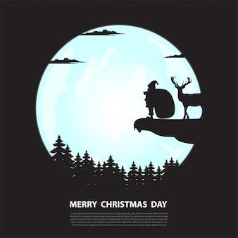 Weihnachtsmann mit geschenktüte stehen auf einer klippe