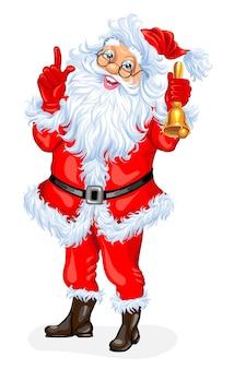 Weihnachtsmann mit glocke. vektor-illustration