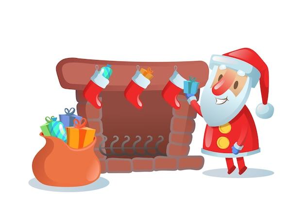 Weihnachtsmann mit großem sack der geschenke nahe kamin mit weihnachtsstrümpfen. bunte flache illustration. auf weißem hintergrund isoliert.