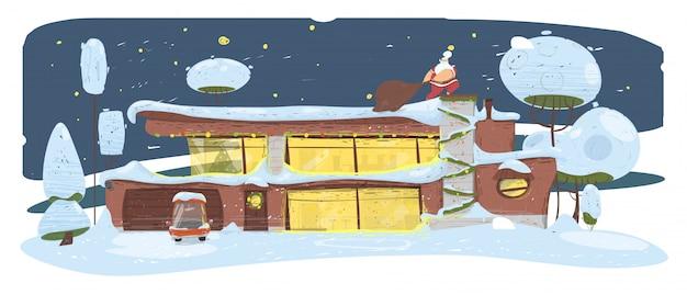 Weihnachtsmann mit großem sack schleichend durch hausdachfahne