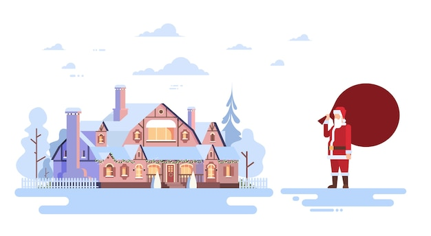 Weihnachtsmann mit großen geschenk sack