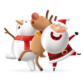 Weihnachtsmann mit hirschen und schneemann