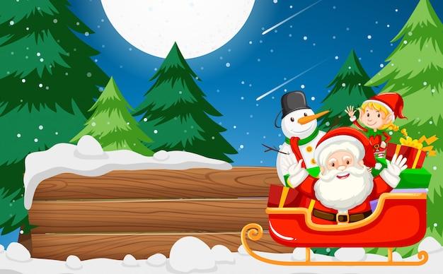 Weihnachtsmann mit hölzernen banner