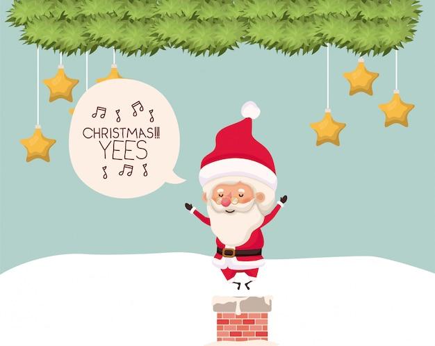 Weihnachtsmann mit kamin in der schneelandschaft