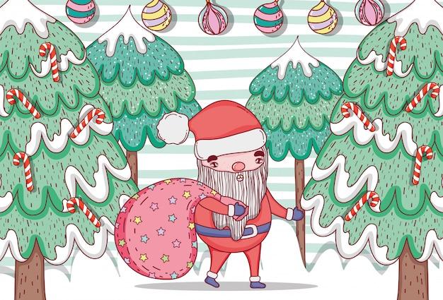 Weihnachtsmann mit kiefer und bällen