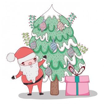 Weihnachtsmann mit kiefer- und weihnachtsgeschenken
