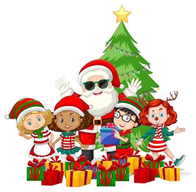 Weihnachtsmann mit kindern tragen weihnachtskostümkarikaturfigur auf weißem hintergrund