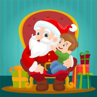 Weihnachtsmann mit kleinkind auf dem sessel