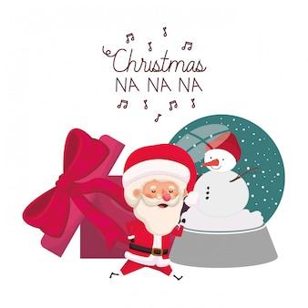 Weihnachtsmann mit kristallkugel und geschenkbox
