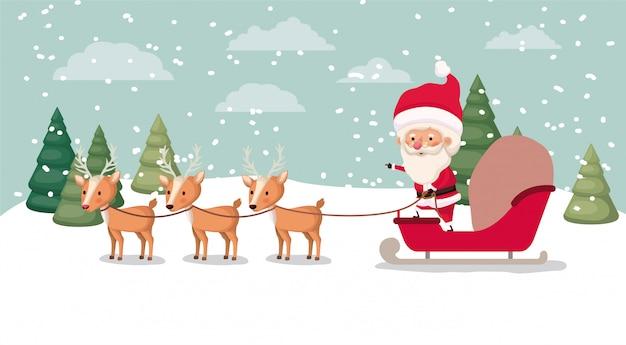 Weihnachtsmann mit kutsche und hirsch in der schneelandschaft
