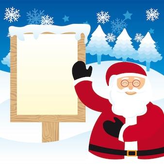 Weihnachtsmann mit leerem zeichenweihnachten über schneevektor