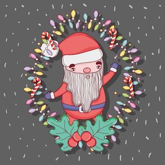 Weihnachtsmann mit lichtern und zuckerstange