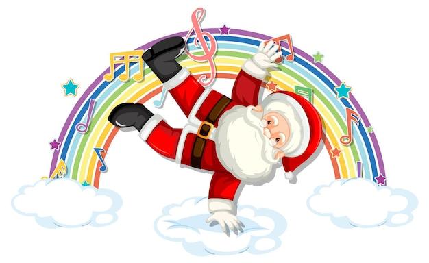 Weihnachtsmann mit melodiesymbolen auf regenbogen