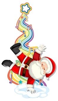 Weihnachtsmann mit melodiesymbolen auf regenbogenwelle