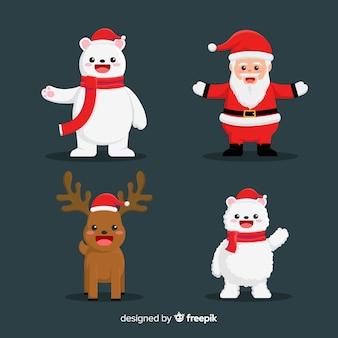Weihnachtsmann mit netter tiercharaktersammlung