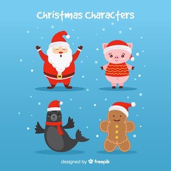 Weihnachtsmann mit niedlichen tieren und lebkuchenfiguren