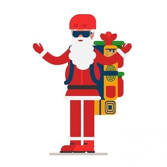 Weihnachtsmann mit offenen armen gibt geschenke aus einem riesigen rucksack