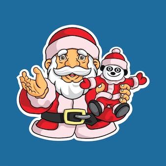 Weihnachtsmann mit puppe illustrationsaufkleber