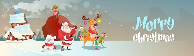 Weihnachtsmann mit ren-elf-geschenk-sack