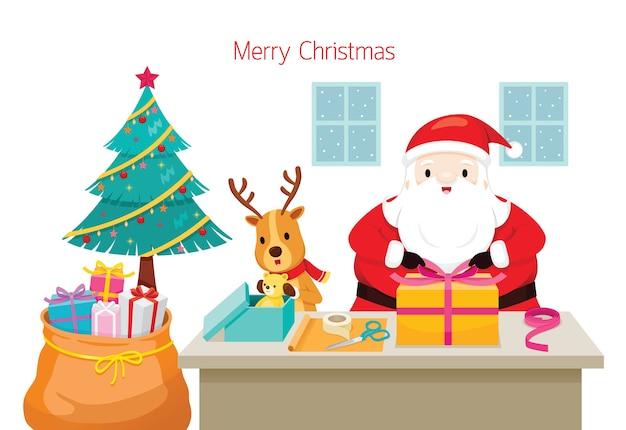Weihnachtsmann mit rentier, das hilft, geschenke für weihnachtstag zu verpacken