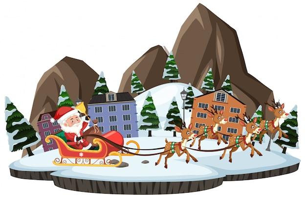 Weihnachtsmann mit rentier, das über die stadt auf weißem hintergrund geht