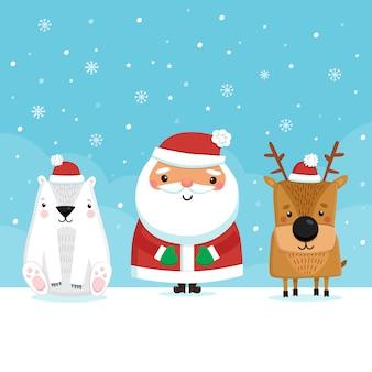 Weihnachtsmann mit rentier und bär