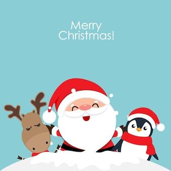Weihnachtsmann mit rentier- und pinguinkarikatur