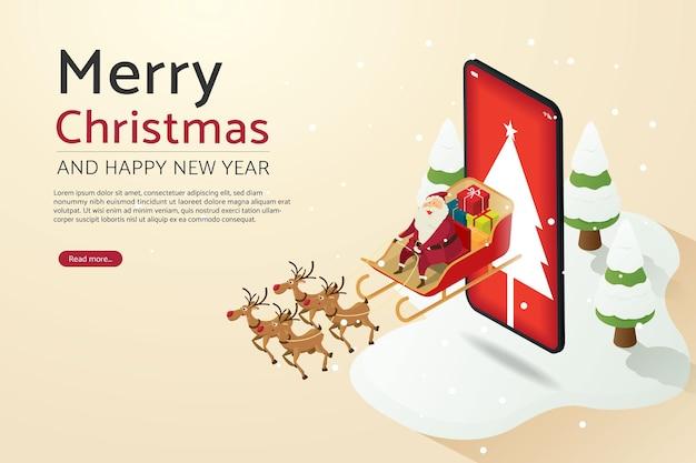 Weihnachtsmann mit rentierfliegen senden sie geschenke über smartphone-hintergrund mit weihnachtsbaum