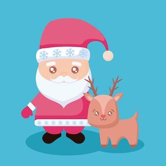 Weihnachtsmann mit renweihnachten