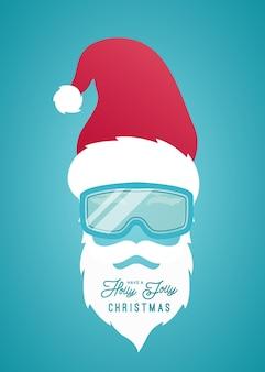 Weihnachtsmann mit rotem hut und snowboardmaske