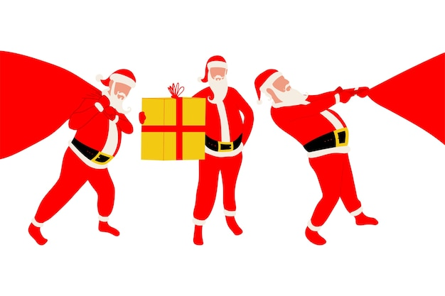 Weihnachtsmann mit sack- und geschenkboxschattenbild gesetzt auf einem weißen hintergrund.