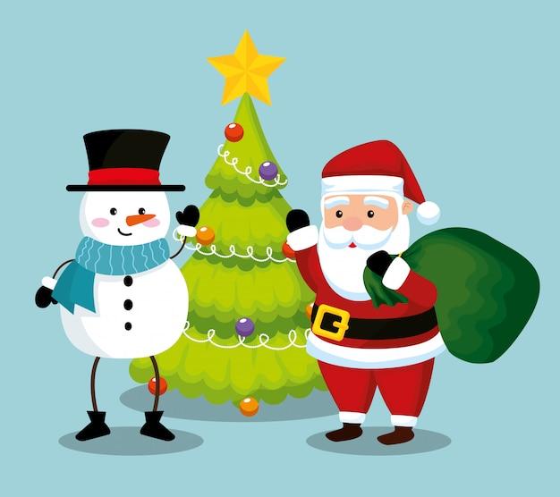Weihnachtsmann mit schneemann und kiefer