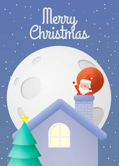 Weihnachtsmann mit schönem himmel und mond in papierkunst und pastellschema