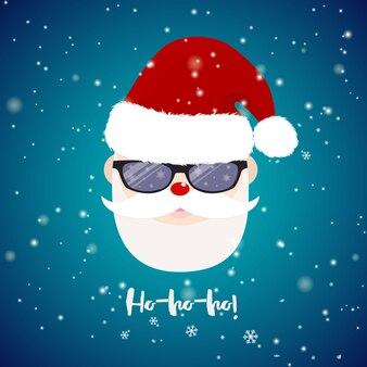 Weihnachtsmann mit sonnenbrillen auf blauem hintergrund