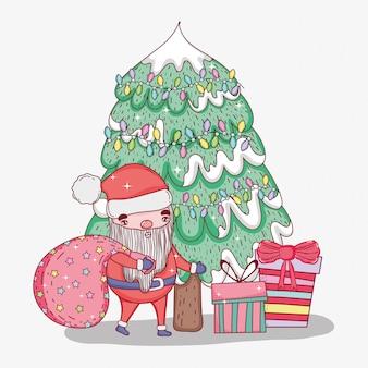 Weihnachtsmann mit tasche und kiefer