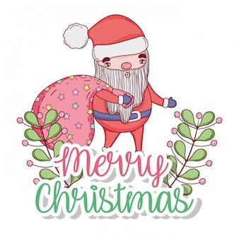 Weihnachtsmann mit taschen- und niederlassungsblättern