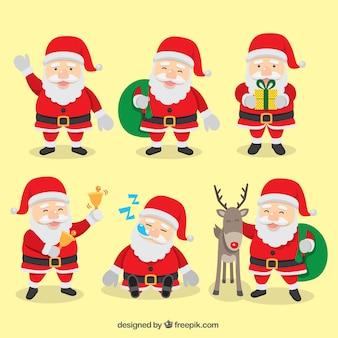 Weihnachtsmann mit verschiedenen elementen