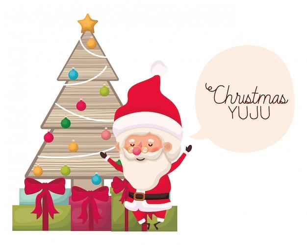 Weihnachtsmann mit weihnachtsbaum und geschenken