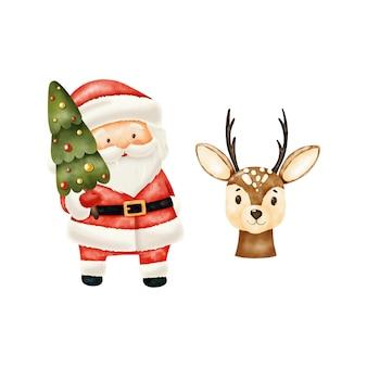 Weihnachtsmann mit weihnachtsbaum und hirsch