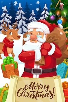 Weihnachtsmann mit weihnachtsgeschenken und alter papierrolle mit wünschen des frohen weihnachtsentwurfs
