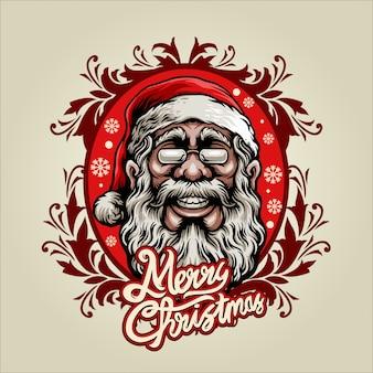 Weihnachtsmann mit weinleseverzierung
