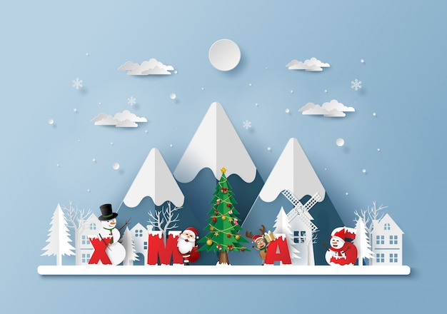 Weihnachtsmann mit wort weihnachten im dorf