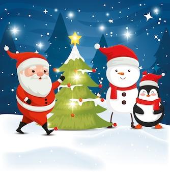 Weihnachtsmann mit zeichenweihnachten in der winterlandschaft
