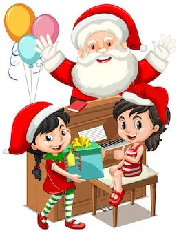 Weihnachtsmann mit zwei mädchen, die klavier am weihnachtstag spielen