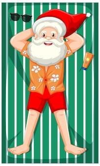 Weihnachtsmann nimmt sonnenbad-zeichentrickfigur isoliert
