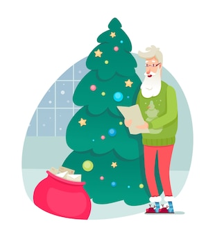 Weihnachtsmann prüft geschenklistenillustration, weihnachts-, neujahrsfeiertagselement.