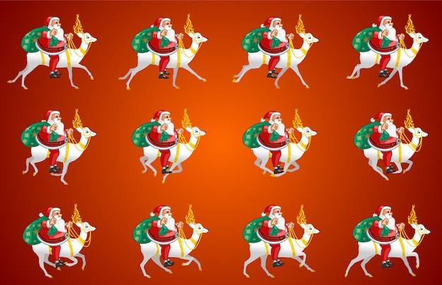 Weihnachtsmann reiten animation