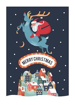 Weihnachtsmann reitet auf rehen eine kleine gemütliche schneebedeckte stadt neujahr und weihnachten