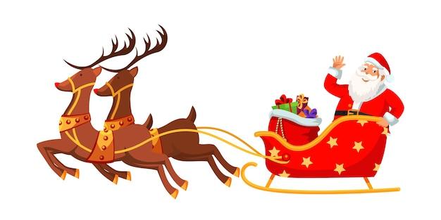 Weihnachtsmann reitet schlittenillustration.